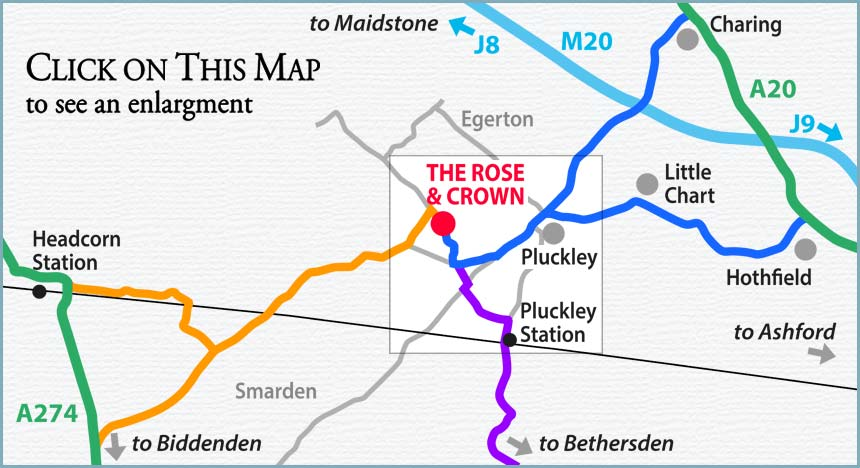Map of how to get to The Rose & Crown at Mundy Bois